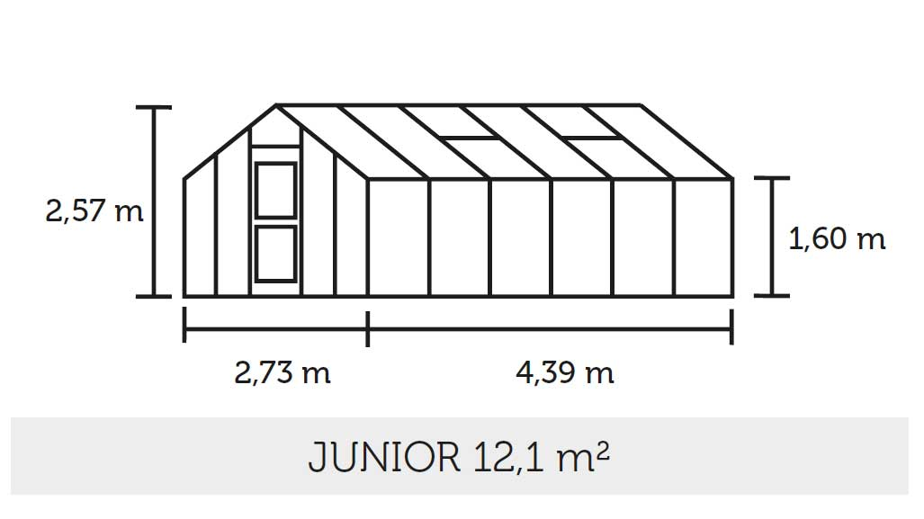Gewächshaus Juliana Junior 12,1m² Alu silber 3mm Blankglas Bild 2