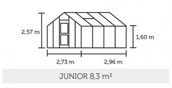Gewächshaus Juliana Junior 8,3m² Alu anthrazit / 3mm Blankglas Bild 2