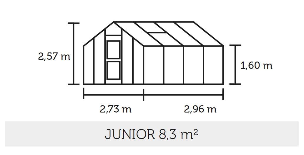 Gewächshaus Juliana Junior 8,3m² Alu anthrazit 6mm Doppelstegplatten Bild 2