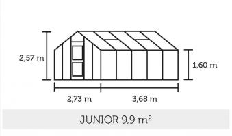 Gewächshaus Juliana Junior 9,9m² Alu anthrazit 3mm Blankglas Bild 2