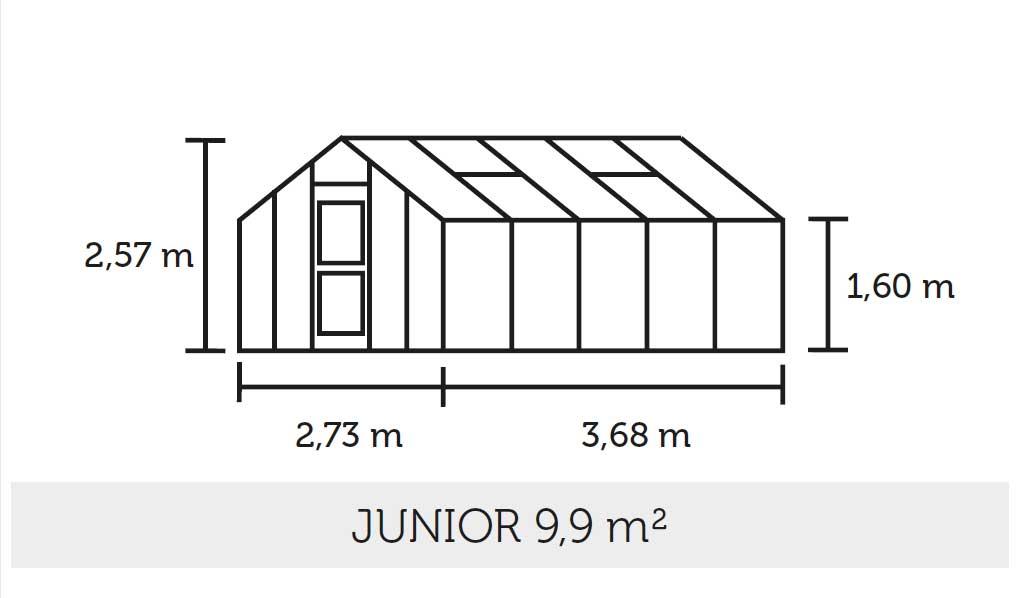 Gewächshaus Juliana Junior 9,9m² Alu silber 3mm Blankglas Bild 2