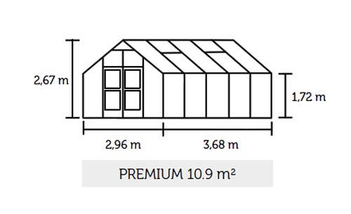 Gewächshaus Juliana Premium 10,9m² Alu anthrazit 3mm Sicherheitsglas Bild 2