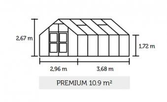 Gewächshaus Juliana Premium 10,9m² Alu silber 3mm Sicherheitsglas Bild 2