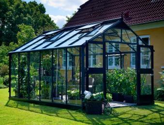 Gewächshaus Juliana Premium 13,0m² Alu anthrazit 3mm Sicherheitsglas Bild 1
