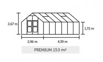 Gewächshaus Juliana Premium 13,0m² Alu anthrazit 3mm Sicherheitsglas Bild 2