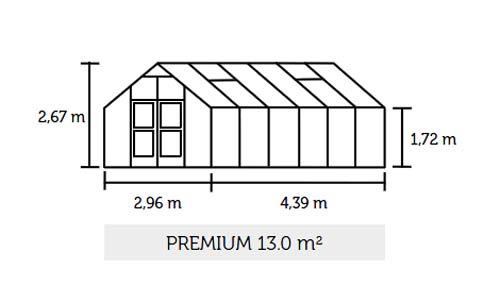 Gewächshaus Juliana Premium 13,0m² Alu silber 10mm Doppelstegplatten Bild 2