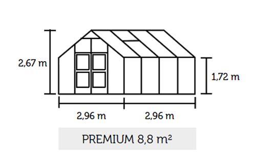 Gewächshaus Juliana Premium 8,8m² Alu anthrazit 3mm Sicherheitsglas Bild 2