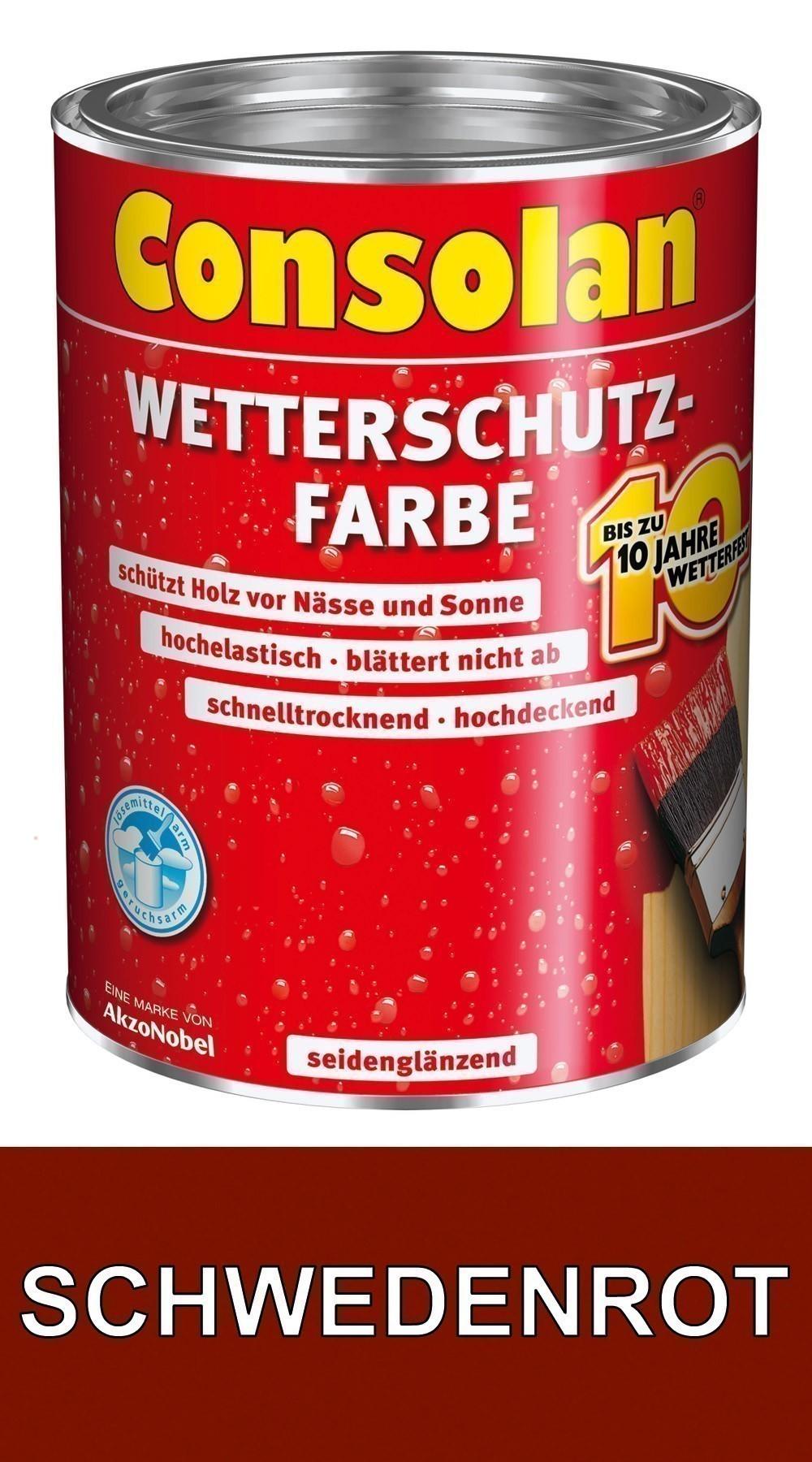 Gartenhaus streichen schwedenrot  Consolan Wetterschutz Farbe schwedenrot 0,75 L - bei edingershops.de