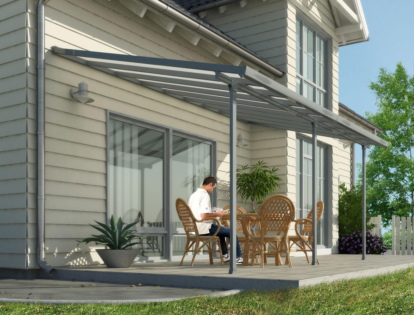 Terrassenüberdachung / Carport Alu grau / Hohlkammerplatten ...