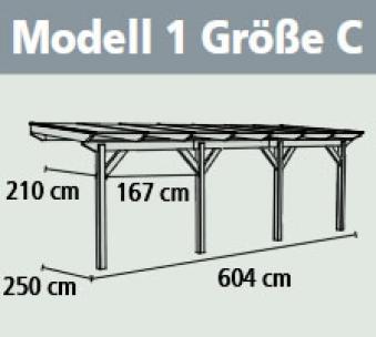 Terrassenüberdachung Karibu Classic 1 C Leimholz 604x250cm natur Bild 2