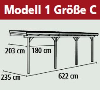 Terrassenüberdachung Karibu Eco Modell 1 C kdi 622x235cm Bild 2