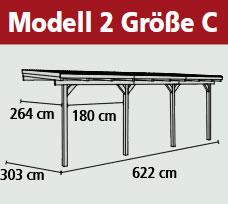 Terrassenüberdachung Karibu Eco Modell 2 C kdi 622x303cm Bild 2