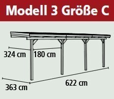Terrassenüberdachung Karibu Eco Modell 3 C kdi 622x363cm Bild 2