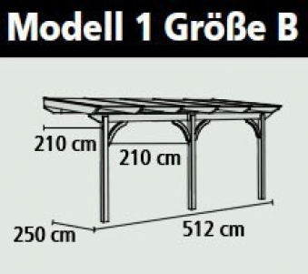 Terrassenüberdachung Karibu Modell 1 B gerade Douglasie 512x250cm Bild 2