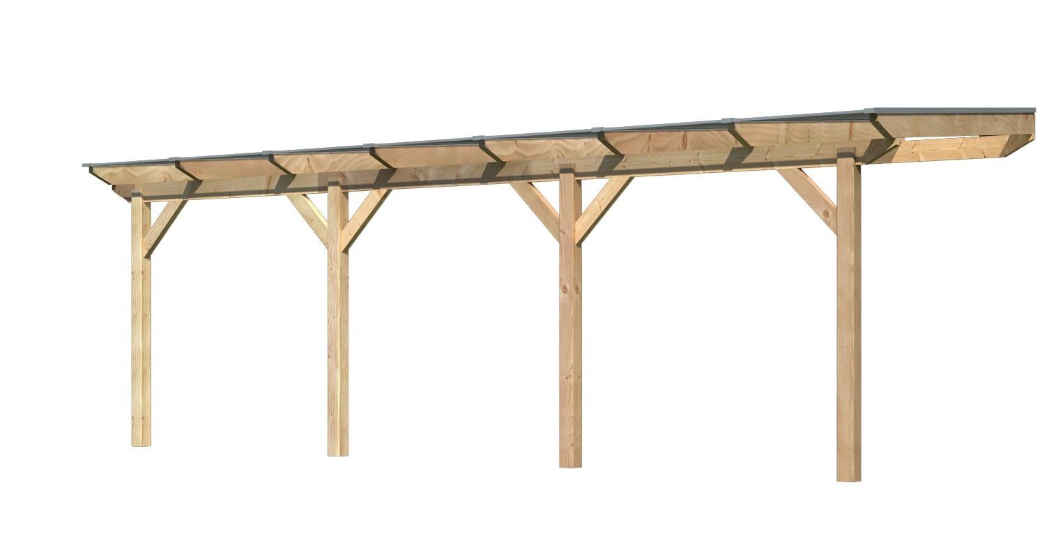 Terrassenüberdachung Karibu Modell 1 C gerade Douglasie 714x250cm Bild 1