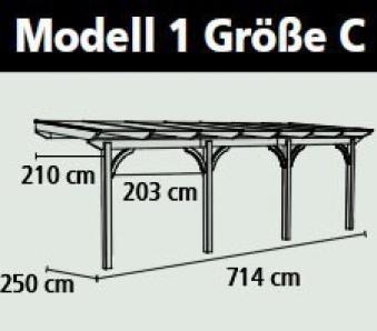 Terrassenüberdachung Karibu Modell 1 C gerade Douglasie 714x250cm Bild 2