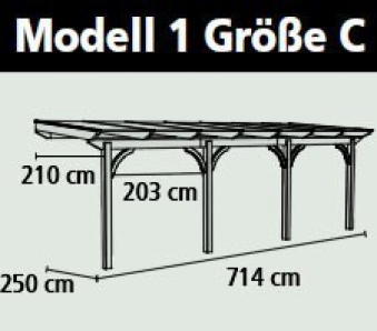 Terrassenüberdachung Karibu Modell 1 C rund Douglasie 714x250cm Bild 2