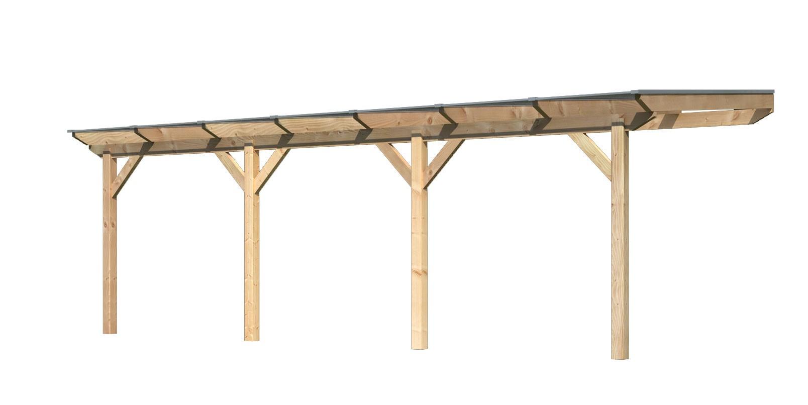 Terrassenüberdachung Karibu Modell 2 C gerade Douglasie 714x300cm Bild 1