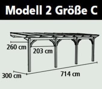 Terrassenüberdachung Karibu Modell 2 C gerade Douglasie 714x300cm Bild 2