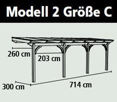 Terrassenüberdachung Karibu Modell 2 C rund Douglasie 714x300cm Bild 2