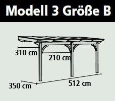 Terrassenüberdachung Karibu Modell 3 B gerade Douglasie 512x350cm Bild 2