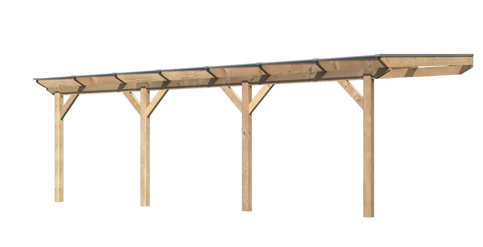 Terrassenüberdachung Karibu Modell 3 C gerade Douglasie 714x350cm Bild 1