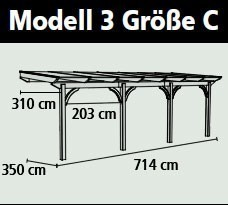 Terrassenüberdachung Karibu Modell 3 C gerade Douglasie 714x350cm Bild 2