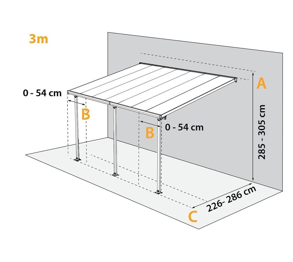 terrassen berdachung carport alu grau hohlkammerplatten 546x295cm bei. Black Bedroom Furniture Sets. Home Design Ideas
