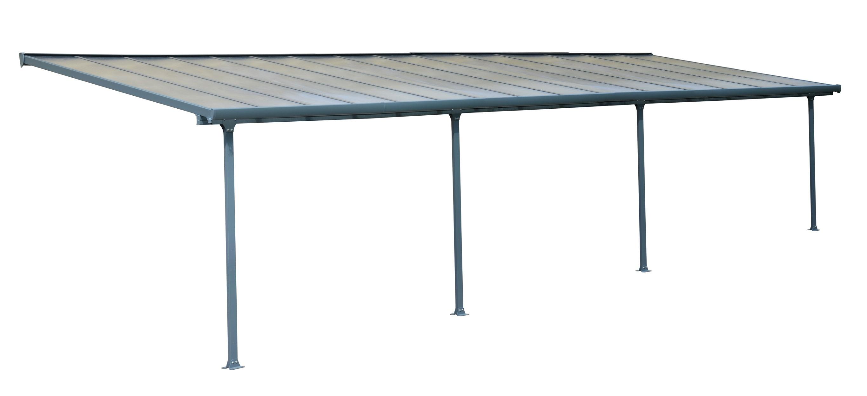 terrassen berdachung carport alu grau hohlkammerplatten 915x295cm bei. Black Bedroom Furniture Sets. Home Design Ideas