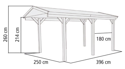 carport modell b i einzel karibu kdi 274x396 cm mit. Black Bedroom Furniture Sets. Home Design Ideas