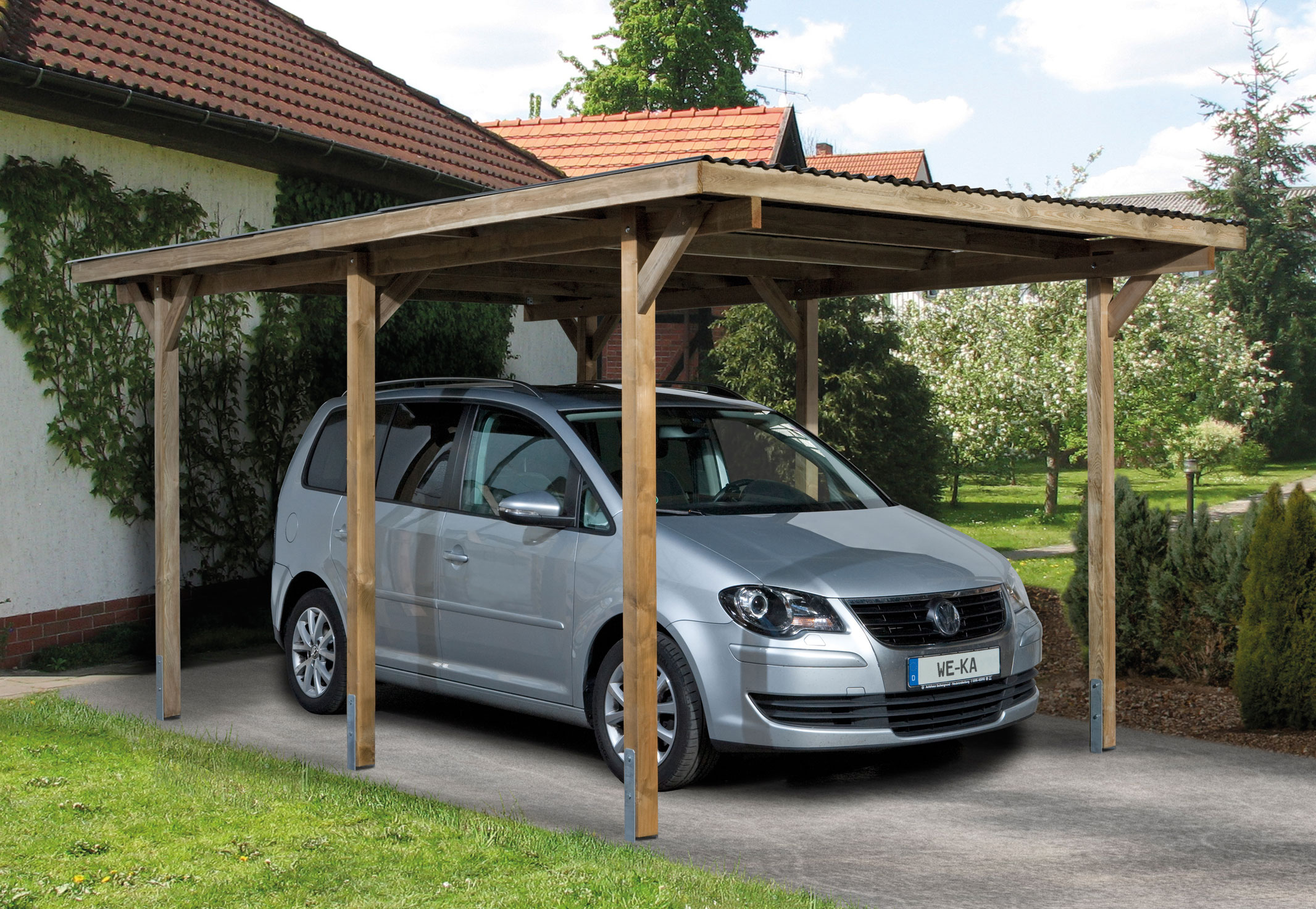 weka carport einzelcarport 606 gr 1 kdi 300x500cm bei. Black Bedroom Furniture Sets. Home Design Ideas