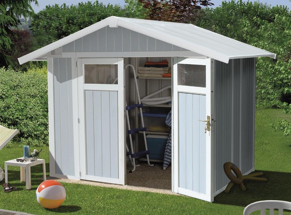 grossfillex gartenhaus v4 9 weiss graublau. Black Bedroom Furniture Sets. Home Design Ideas