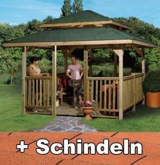 Weka Holzpavillon 19 mm Paradies 4 kdi 380x380cm mit Schindeln